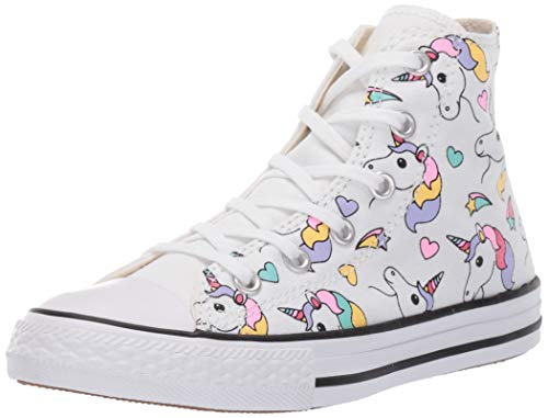 Converse Scarpe Kids Sneaker a collo Alto Chuck Taylor All Star in Tela Bianca 663994C
