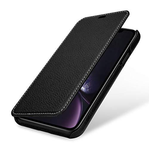 StilGut Schutz-Hülle kompatibel mit iPhone XR Book Type aus Echtleder, schwarz