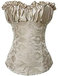 Dissa® bretelles Jacquard corset shapewear Avec G-String, crème