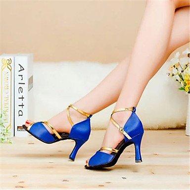 Donne Aemember's scarpe da ballo latino / sala da ballo in raso tacco svasato 7.5cm Altezza tacco nero / blu / rosso / Leopard,2 1/2 (6.3cm) Cuban Heel,blu,US5 / EU35 / UK3 / CN34 Blue,US7.5 / EU38 / UK5.5 / CN38