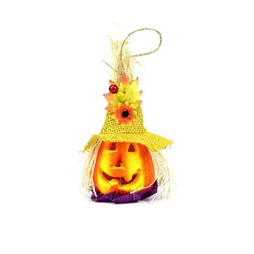 OULII Nettes Kürbis Vogelscheuche Laternen Licht für glückliche Halloween Party Dekoration (gelber Hut)