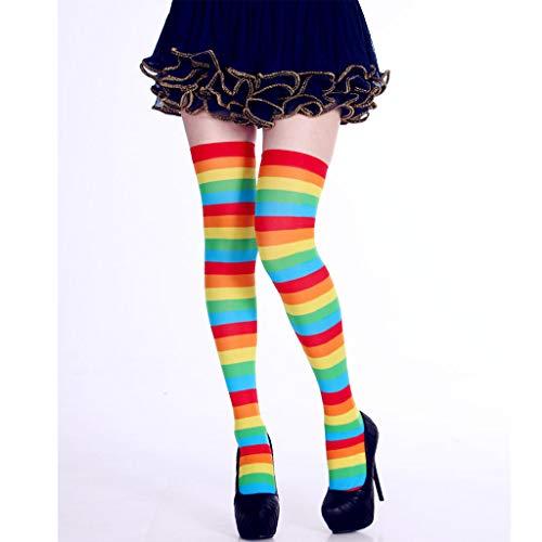 YoungerY Calcetines a Rayas largas para Mujeres Contraste Color Muslo Medias Altas Cosplay Halloween Rainbow