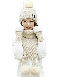 Amorar Damen Strickm/ütze Schal Handschuh Set Winter M/ützen Langen Schal warme Handschuhe Handw/ärmer,EINWEG Verpackung