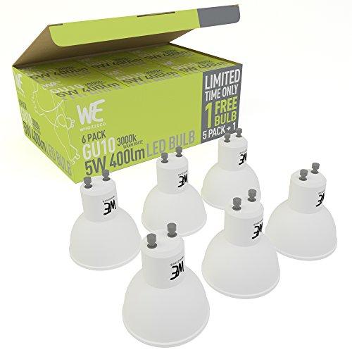 GU10 LED-Leuchten 5W im 6er-Pack KOSTENLOSER VERSAND Warmweiß GELD-ZURÜCK-GARANTIE 3000k, 400 Lumen, Entspricht 50W Halogen-Leuchte, Gewindelos, Beste LED-Leuchten im Bestand - Natürliches Tageslicht -