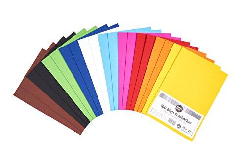 perfect ideaz 100 Blatt DIN-A5 Foto-Karton bunt, Bastel-Papier, durchgefärbt, 10 verschiedenen Farben, 300g/m², Pappe zum Basteln, hochwertige Qualität