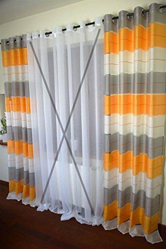 AeMBe - Ösen Vorhang Halbtransparent - SET - Top Design - Modern - 2 Vorhänge in 1 pack - Weiß-Grau-Orange - Höchste Qualität