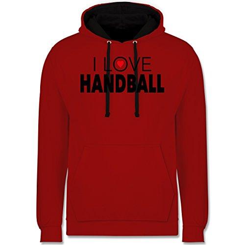 Handball - I Love Handball - Kontrast Hoodie Rot/Schwarz