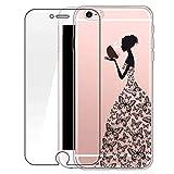 Custodia iPhone 6/6s [Pellicola Protettiva In Vetro Temperato], Bestsky Cover iPhone 6s Trasparente con Disegni Morbida Gel Silicone Antiurto Bumper Case, Ragazza di farfalla