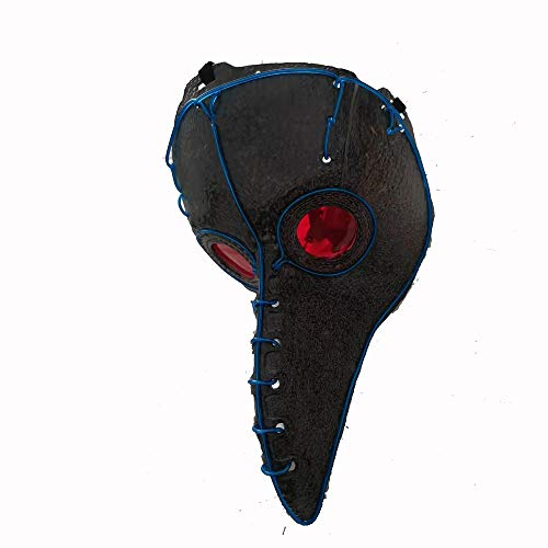 kind heartedJC Plague Doctor Mask, Costume Plague Bird Doctor Nose Cosplay Mask for Adult,Kostüm Zubehör Für Erwachsene Halloween Party Fasching Karneval Blue Lights