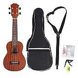 Dilwe 21 Zoll Ukulele Sapele Palisander Ukulele mit Bag Capo Hammer Strap Saiten 4-Saiter Ukulele Musikinstrument für Kinder