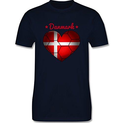 Handball - Handballherz Dänemark - Herren Premium T-Shirt Navy Blau