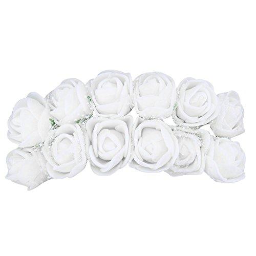 Ueb 12pcs teste di rose in schiuma rose finte per decorazioni fiori artificiali decorazione per matrimonio festa auto casa diy ghirlanda di fiori da sposa (bianco)