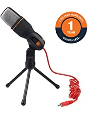 Com-Tech Professional Condenser Sound Mic with Stand and Clip and 2 m Cable for PC Laptop Skype Facetime Chatting Recording Singing on Internet