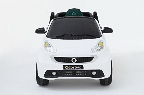 RIRICAR Elektrofahrzeug Smart for Two, Weiss, original lizensiert, batteriebetrieben, Türen...