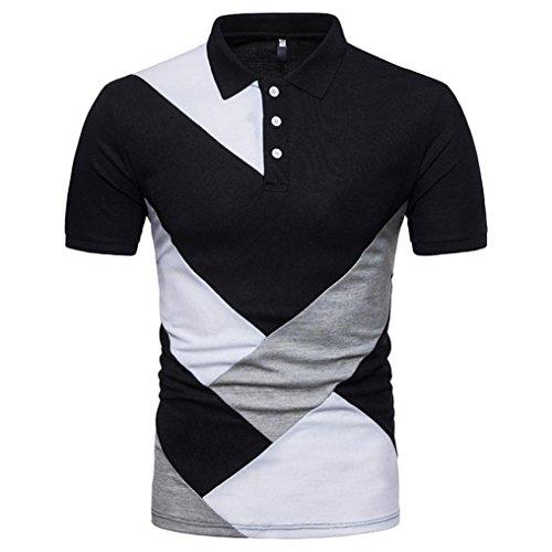 Dasongff Herren Poloshirt Kurzarm Patchwork T-Shirt Freizeit Sweatshirt Pullover Sommer T-Shirt Männer Slim Polohemden (S, Schwarz)