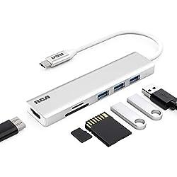 USB C Hub, RCA Adaptateur USB C avec HDMI 4K, Lecteur de Carte SD & Micro SD, 3 ports USB 3.0 pour MacBook Pro, ChromeBook, XPS, PC USB Type-C