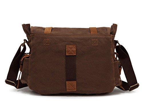 koolehaoda Canvas Unisex-Kreuz-Körper-einzelne Schulter-Laptop-Tasche mit Durable Strap-Größe 36x12x28cm - Kaffee Black