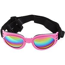 UEETEK Gafas de Sol para Perros Protección UV Plegable Gafas para Mascotas con Correa Ajustable UV Protección Contra el Viento (Rosa)