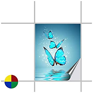 Fliesenaufkleber für Bad und Küche - 20x25 cm (BxH) - Motiv Butterfly - 5 Fliesensticker für Wandfliesen