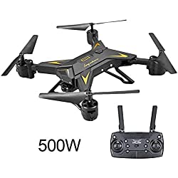 XHXseller Mini Drone Remote Control Aircraft Helicopter Four-Axis Airplane Remote Control Altitude Hold LED Aerial View Drone Foldable for Beginners