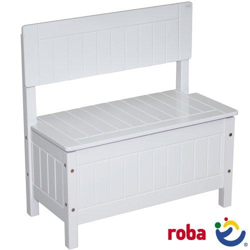 Unbekannt Roba Kindertruhenbank weiß lackiert, im Landhausstil mit Frösungen, 58,5x57x29cm