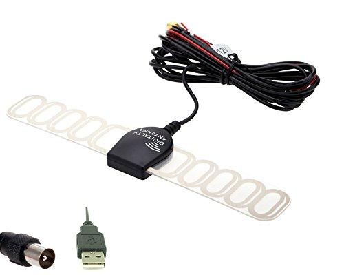 Eximtrade Auto Analog Fernseher Digital TV DVBT ATSC ISDB Radio FM Antenne Signal Verstärker für Auto Stereo (IEC + USB) -