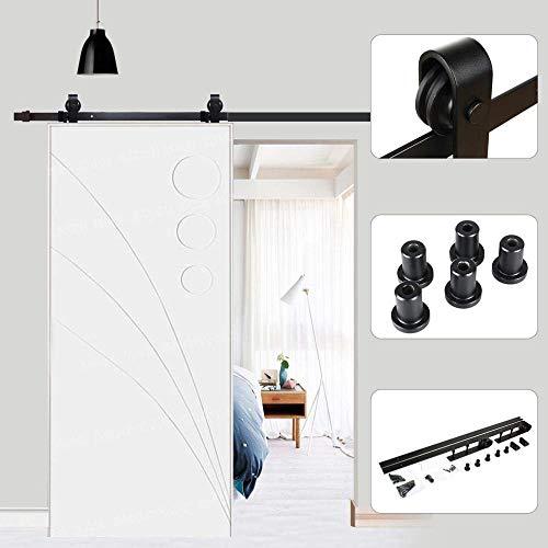 Schwarze Holz-tür (Schiebetürschiene 6FT (200cm) Schiebetür Schiebetür Türbeschlag Kit Zubehör für die Tür Maximal Traglast 120 kg schwarz für eine Schiebetür aus Holz Rustikal Stil)