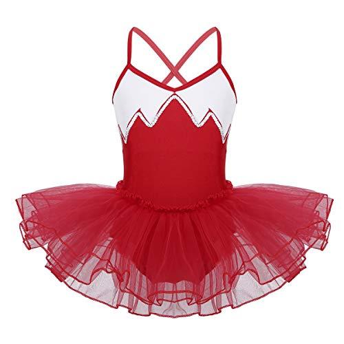 CHICTRY Kinder Mädchen Klassisches Ballerina Kleid Kinderkostüm Tutu Ballettkleid Trikot Kleid Träger Rot Schwarz Weiß Blau Gr. 110-164 A Rot 134-140/9-10Jahre