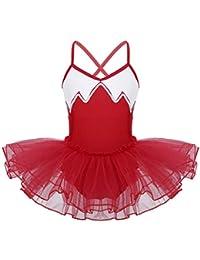 TiaoBug Enfant Fille Justaucorps de Danse Ballet Gymnastique Tutu Robe à Paillettes  Leotard Sport Body Combinaison 7e63e53ebe7