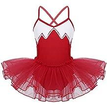 TiaoBug Enfant Fille Justaucorps de Danse Ballet Gymnastique Tutu Robe à  Paillettes Leotard Sport Body Combinaison 0d8aac56247