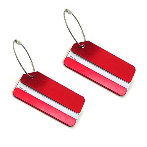 CSTOM 2x Kofferanhänger Gepäckanhänger mit Adressschild Metall Rot