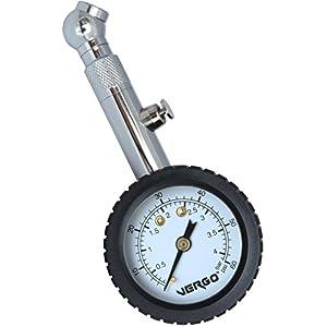 VERGO Medidor de Presión Manómetro Neumáticos – Pantalla de 1.5 Pulgadas – Unidades de Medida doble 0-60 PSI/ 0-4 Bar – 360 Grados Rotacion – por Auto Coche Moto – No Requiere Baterías – Facil de Usar