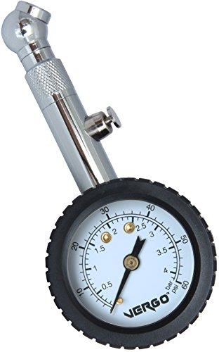 VERGO Medidor de Presión Manómetro Neumáticos - Pantalla de 1.5 Pulgadas - Unidades de Medida doble 0-60 PSI/ 0-4 Bar - 360 Grados Rotacion - por Auto Coche Moto - No Requiere Baterías - Facil de Usar