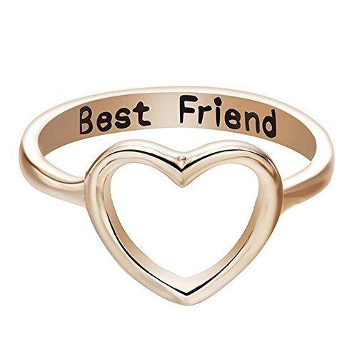 Originaltree moda donna hollow heart finger ring jewelry accessori oro 14 k best friends best 镂 hollow anello, lega, rose gold, us 9