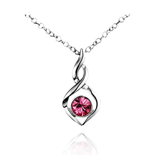 "Price comparison product image AmberMa ""Fade Love"" Glamours Twist Charm Pendant Necklace Sterling Silver Cubic Zirconia Fashion for Women Girls (Red)"