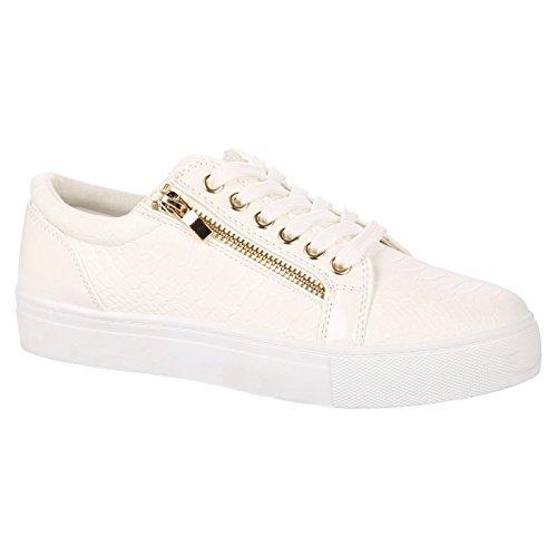 ByPublicDemand Rowena Donna Stringate scarpe da ginnastica - Weiß (Patent Alta Heel)