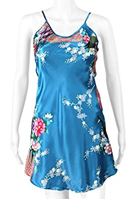 Peacock & Blossom - Silky Satin Chemise Lingerie, Babydoll Nightgown