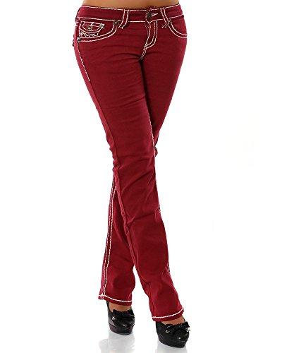 Damen Jeans Straight Leg (Gerades Bein Dicke Nähte Naht weitere Farben) No 12923, Größe:42;Farbe:Bordeaux (Jeans Strass-kinder)
