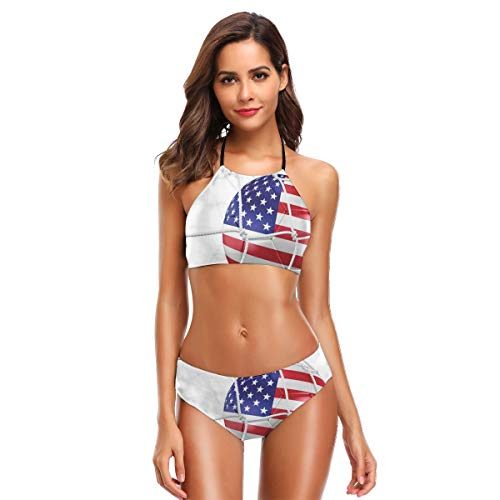 y Halter Two Piece Bikini Sets Swimsuits,USA American Flag Printed Soccer Ball In A Net Goal Success Stylized Artwork M,Bathing Suits ()