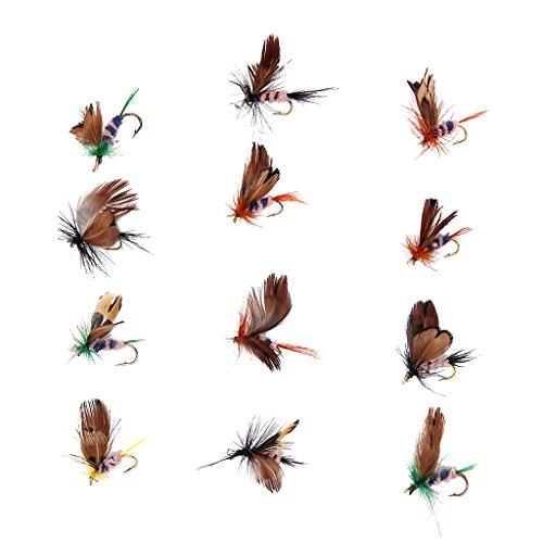 12pcs Señuelos de Mariposa Mosca Diseñados de Pesca