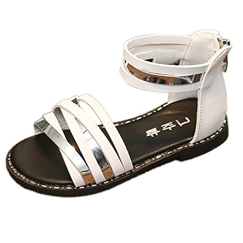 Oasap Girl's Fashion Oepn Toe Ankle Strap Flat Sandals white