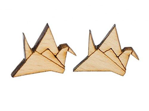 Kranich Ohrstecker Miniblings Stecker Ohrringe Japan Origami Abstrakt Vogel Holz Japan Vogel