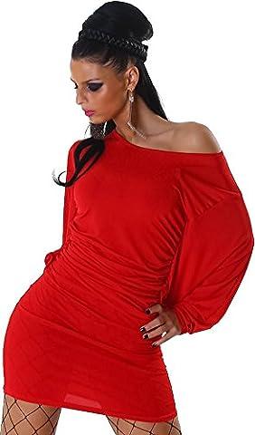 Damen Kleid Stretch Minikleid Longshirt Shirt Fledermausärmel Carmen Ausschnitt Rot 34-38