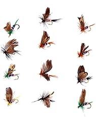 12 Piezas Mariposa Pesca Seca Moscas Peces Señuelos Cebo Gancho Accesorios
