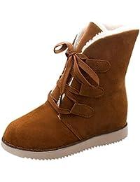 Beladla Botas De Nieve para Mujer Invierno Felpa Botas Calientes Gamuza Encaje Botas Navidad Zapatos De Mujer