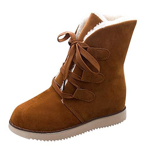 Damen Stiefel New Elegant Mädchen Warm Winter Schneestiefel Schnürverschluss Schnellverschluss Middle Boots Martin Plüsch Kurz Bootie Dicker Absatz Freizeitschuhe