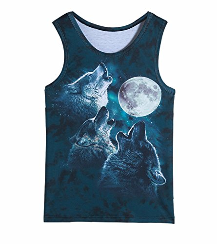 Men's 3D Gorilla Monkey Printed Sleeveless Vest gray