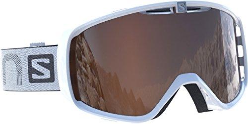 Salomon Unisex Skibrille für Brillenträger, Für verschiedenste Wetterverhältnisse, Orangefarbene Scheibe mit Flash-Beschichtung (auswechselbar), Airflow-System, weiß, Aksium Access, L39082800