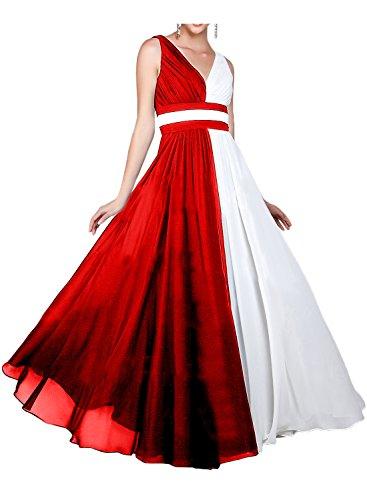 Gorgeous Bride Modisch V-Ausschnitt Chiffon Abendkleider Lang Abendmode Ballkleider Lang Cocktailkleider Rot