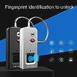 AxssjS Fipilock Fingerprint Padlock USB wiederaufladbare intelligente schlüssellose wasserdichte, tragbare Kofferverriegelung Grau